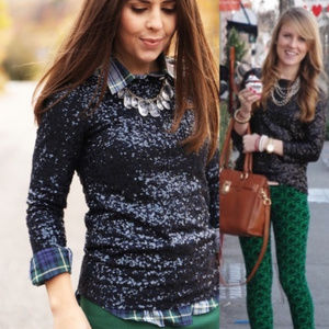 J. Crew Glimmer Black Long Sleeve Sequined Top